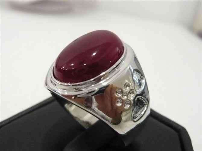 Fine ผู้ชาย/ผู้หญิงสีแดงหยกโอปอลรักแหวน #9,10, 11,12