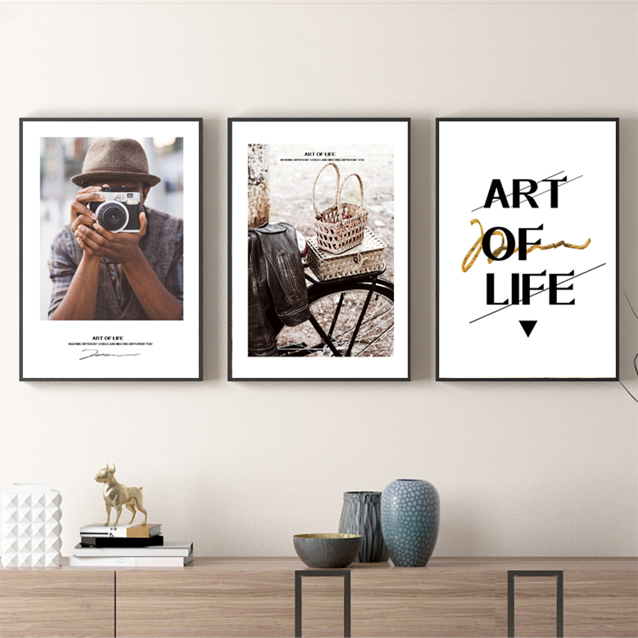 Man Camera Bike Motivational Quotes Nordic Posters And Prints Wall Art Canvas Painting Pictures For Living Room Home Decor
