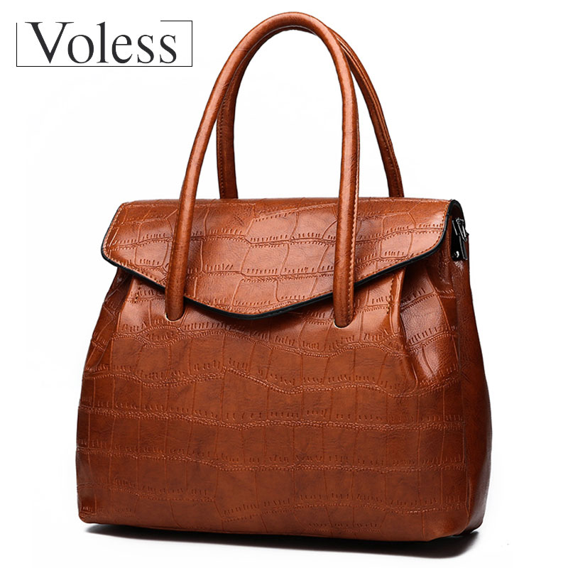VOLESS Women Bag Vintage Women Shoulder Bags Female Causal Totes High Quality Alligater PU Leather Handbag Large Capacity 2018 large capacity shoulder bag woman 2018 causal pu leather handbag tote bag soft zipper high quality fashion shoulder bags women