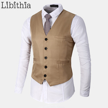 Men's Formal Plaid Suit Vest Single-breasted Big Size S-3XL Waistcoat Men Red Khaki White Black Green Work Tops Clothes Male T89