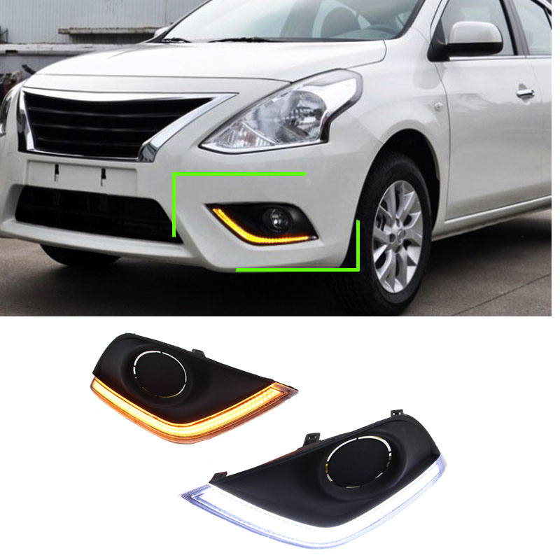 1  Pair Car Styling LED Daytime Running Light Sourse DRL Fog Lamp With Turning Signal For America Nissan Versa 2015 2016 2017 led fog lamp drl daytime running light for nissan sunny versa drl car driving light 2014 2015 new