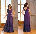 Elegante Gasa Larga Púrpura Madre De La Novia Para el Partido más de 2017 Nuevos vestidos Formales de Noche Por Encargo Una Línea de Vestido Largo De Lentejuelas