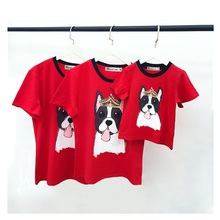 2018 Family Set Pet Dog T shirts Clothes Family Matching Outfits Look Father Mother