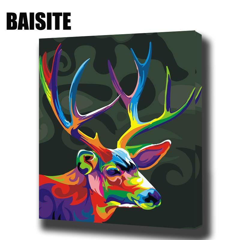 BAISITE Incorniciato Pittura A Olio Dai Numeri FAI DA TE Animali Quadri Su Tela Dipinto Per Soggiorno Wall Art Home Decor E460
