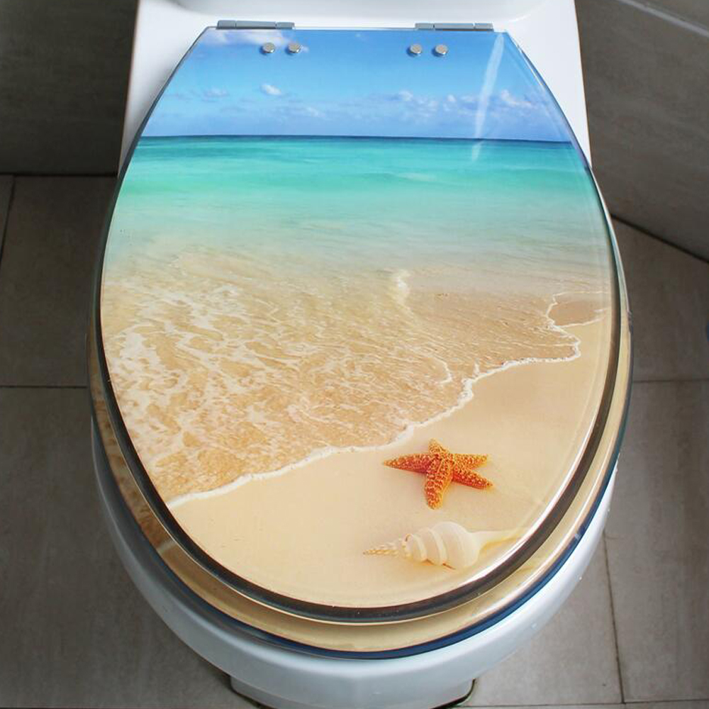 48*38CM High-grade beautifulb beach pattern Resin toilet seat cover