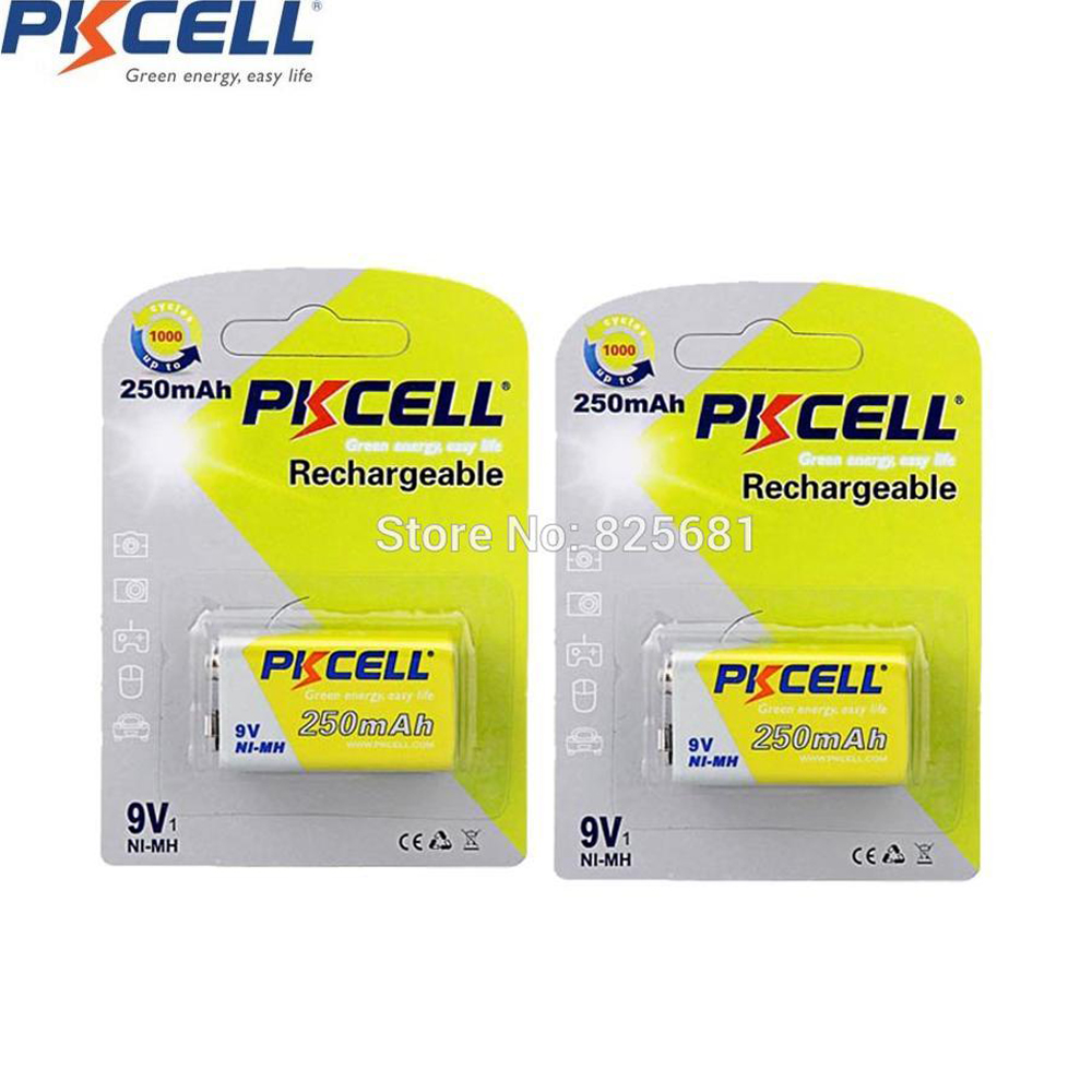 PKCELL 2Pcs 2Cards NIMH Battery 6F22 6LR61 Rechargeable Batteries Power Bank 9v 250mAh Batteries For Electronic Instruments pdr dent lifter removal hand tools slide hammer sl 005