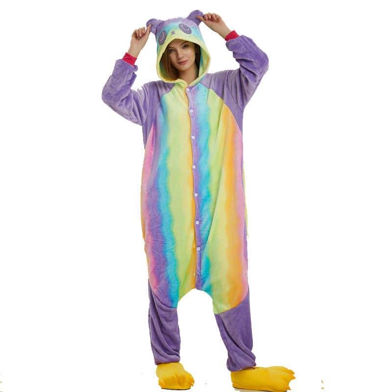 ... Новый фланель Радуга шаблон Panda костюм ниндзя животных для взрослых  Пижама-ползунки для Хэллоуина Для ... 83b56558fc09c