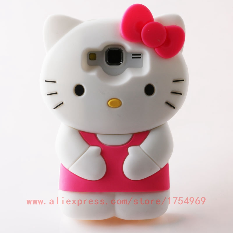 3D Cartoon Hello Kitty Case For Samsung Galaxy Core Prime LTE G360 G3608 G360H G361F G361H Cute Soft Silicone Phone Cover