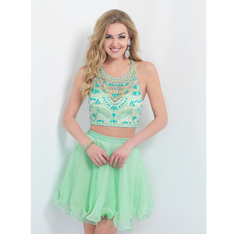 Hot Mint Green Prom Dresses Halter Illusion Neckline Beaded A line ...