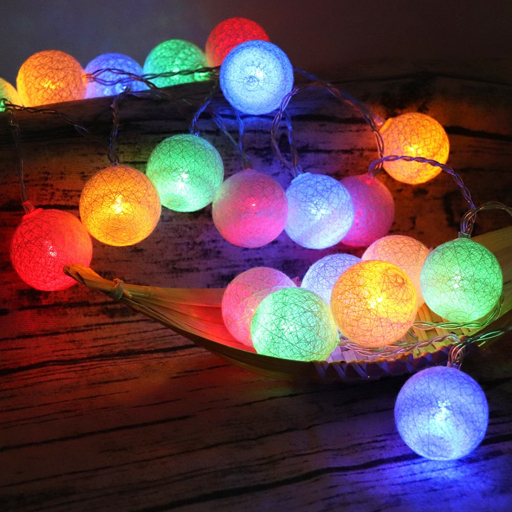 Fairy 4cm Cotton Balls String Lights 1.5m 3m 4.5m 10m Led Garland Lights Christmas Lantern Outdoor Garden Wedding Decoration