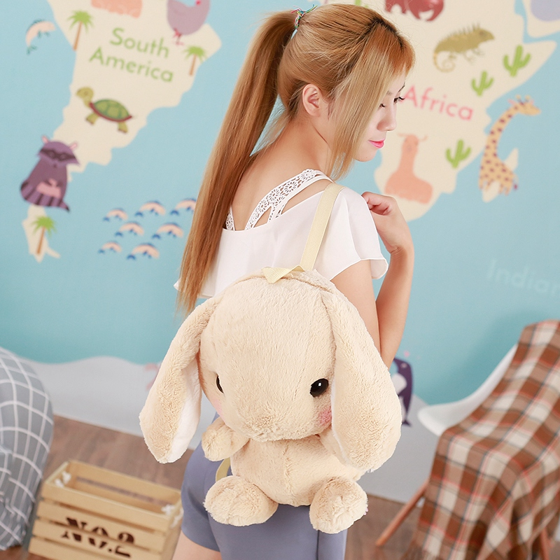 Cute Plush Rabbit Backpack Japanese Kawaii Bunny Backpack Stuffed Rabbit Toy Children School Bag Gift Kids Toy For Girl mashimaro stuffed animal bunny rabbit toy pluche stuffe speelgoed birthday gift for kids cute plush rabbit toy for baby 70c0363