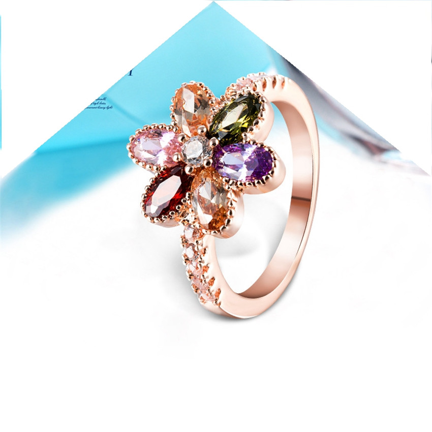 latest style high quality colorful cubic zirconia charming stone wedding rings rose gold color engagement ring for women - High Quality Cubic Zirconia Wedding Rings