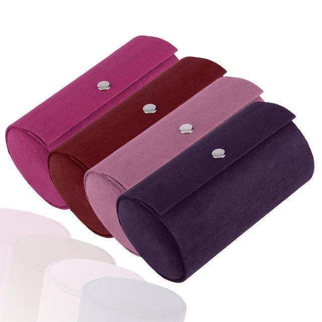 Multifunctional Fabric 3 layers Jewelry Display Box Cylinder Shape