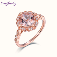 LOVERJEWELRY Ring Gold Natural Morganite Wedding Rings Solid 14K Rose Gold Real Diamond Jewelry For Women Luxury Ring Size 4