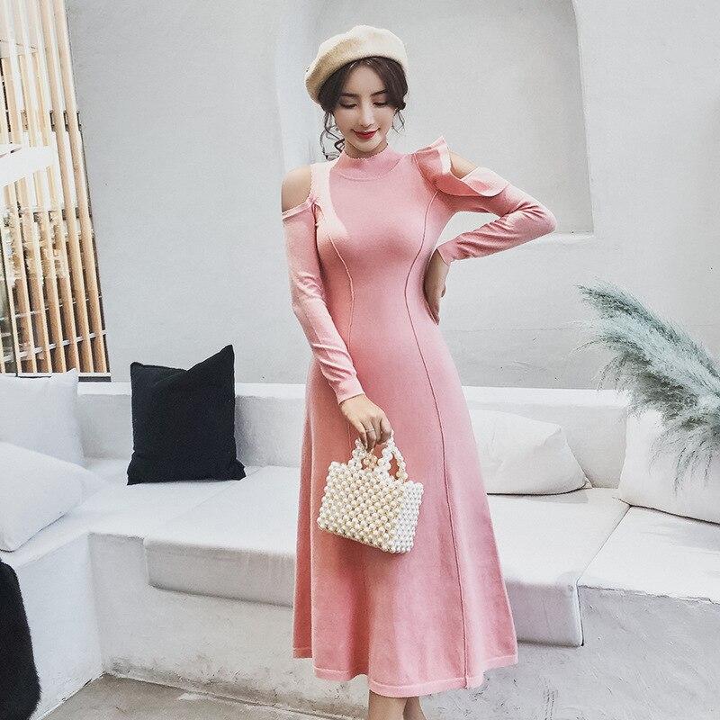 Nouvelle Fuite Long Pull Femmes De Épaule Édition Tricot Han En Rendre Tempérament Mode Hiver Robe PZiuTXwOlk