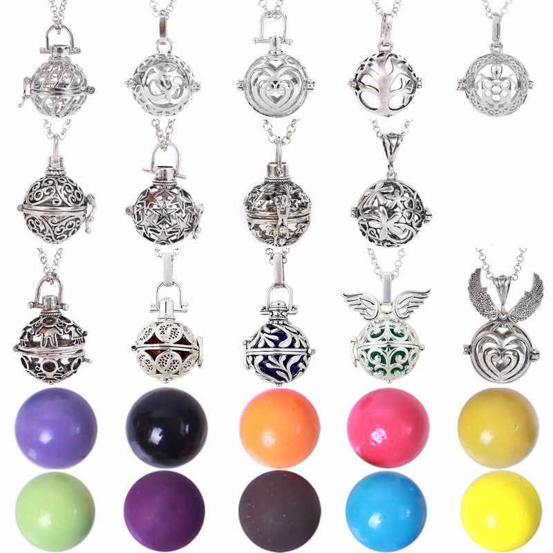 16 มม.Multicolor เพลง Ball Angel Ball Harmony Caller น้ำมันหอมระเหย Hollow แกะสลักสร้อยคอ Locket Heart ตั้งครรภ์ของขวัญเด็ก