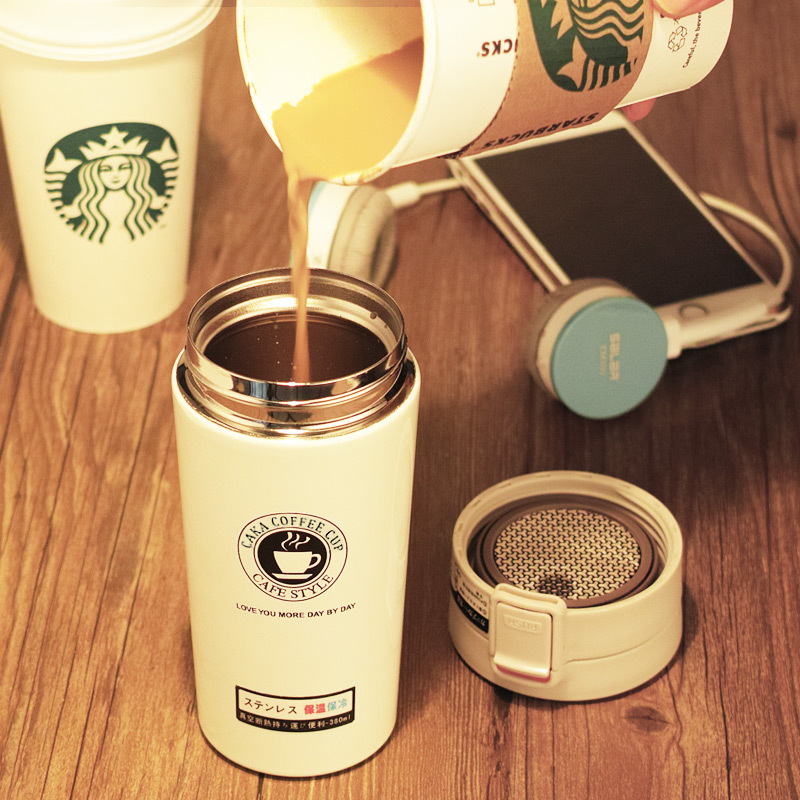 380ml Double Wall Stainless Steel <font><b>Thermos</b></font>, Hot Coffee Travel Mug, Thermal Bottle for Water, Vacuum Flasks, a Termos Cup