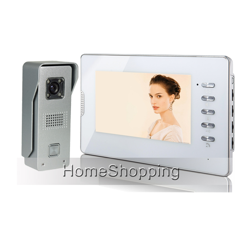 FREE SHIPPING Wired 7 inch Color HD Video Door phone Doorbell Intercom System 1 Waterproof Door Camera 1 White monitor IN STOCK free shipping wired home security 7 inch color video intercom door phone system 2 monitor 1 doorbell camera in stock wholesale