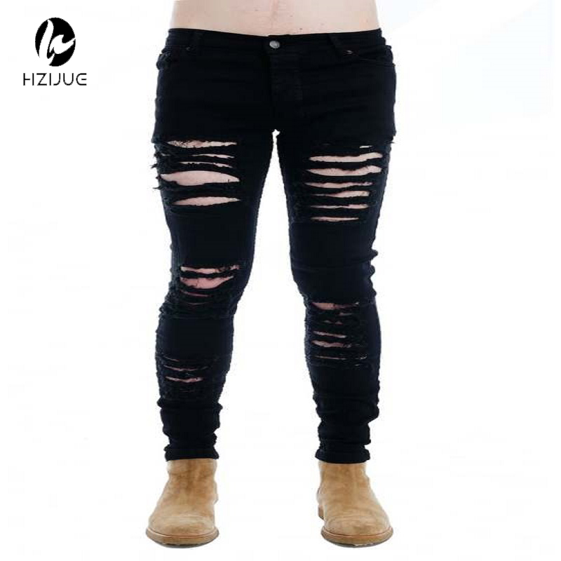ФОТО HZIJUE  hip hop youth fashion trends mens designer clothes 30-36 black stretch rockstar moto rock skinny distressed ripped jeans