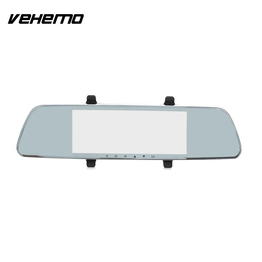 Vehemo 2.5D IPS Screen Dual Lens Dash Cam Rearview Mirror Car DVR Auto On/Off Camcorder Loop Recording Parking Monitor Durable