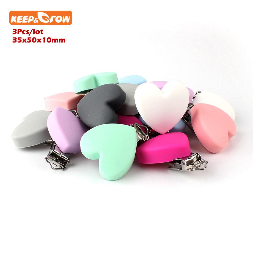 Keep&grow 3Pcs Perle Silicone Dentition Heart Shaped Clips BPA Free DIY Baby Soother Nursing Dummy Draft Teethiing Toys Clips