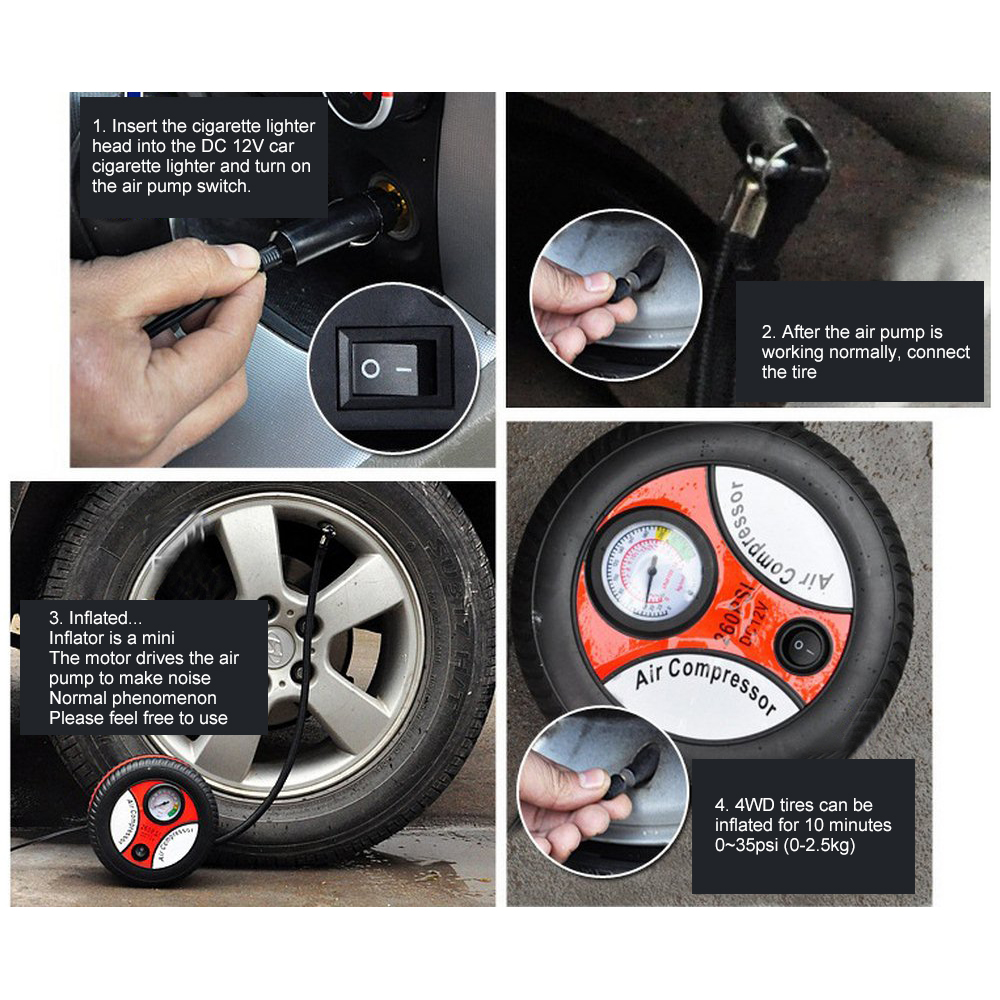Image 5 - Mini BY 266 Tire Inflator Air Compressor Dropship Car Air Pump DC 12V Pump Portable Electric Auto Replacement Parts-in Inflatable Pump from Automobiles & Motorcycles