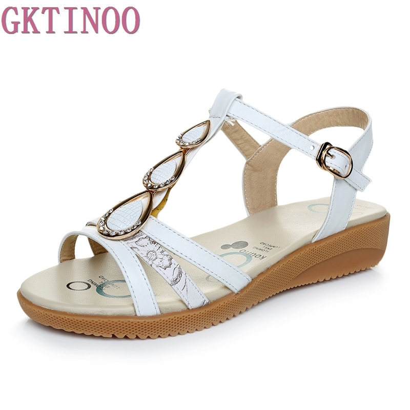 Genuine Leather Women Flats Sandals Plus Size 34-43 New Fashion Casual Solid Buckle Strap Woman Shoes big size 34 43 solid patent leather women oxfords british new fashion platform flats casual buckle strap ladies shoes woman hh88