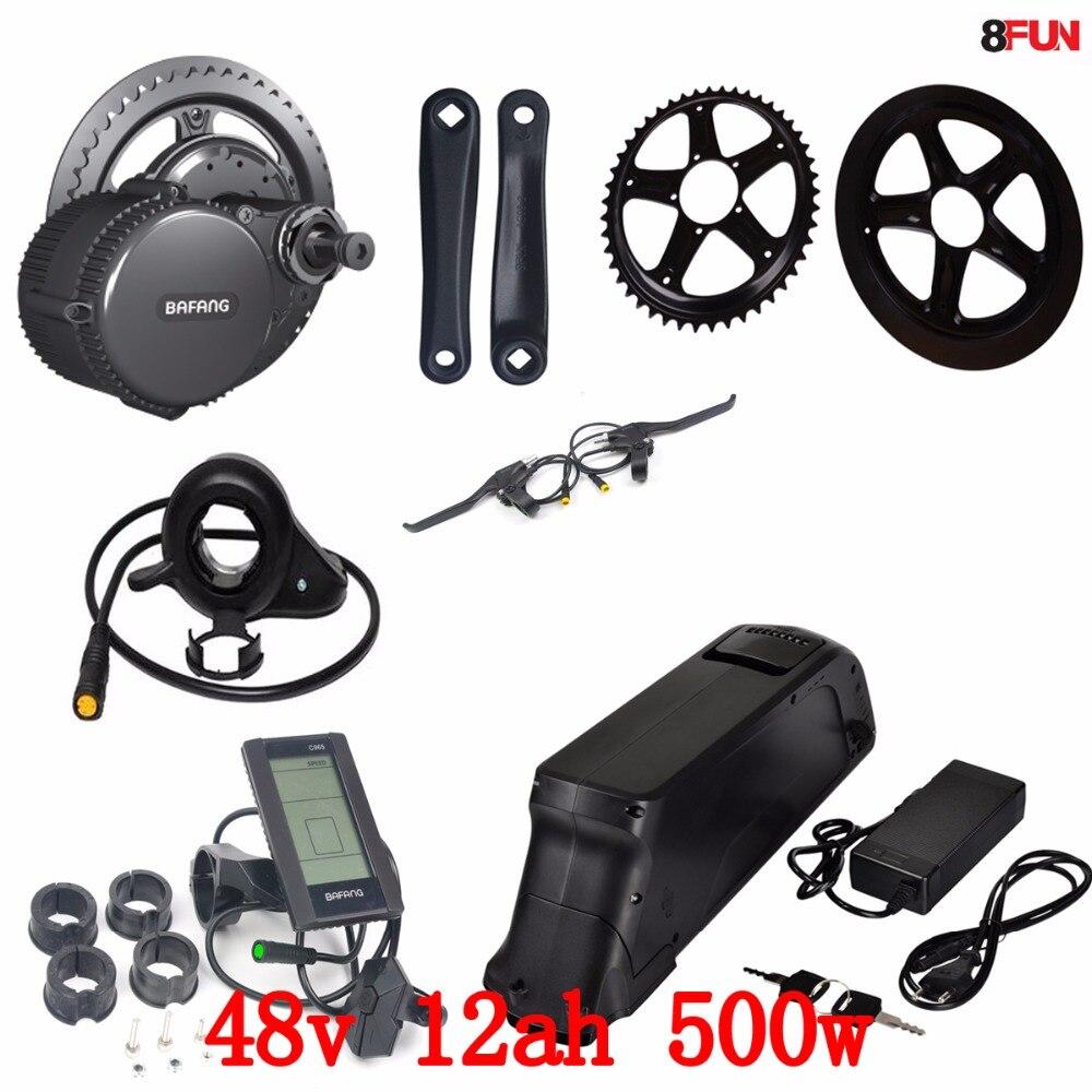 Kit moteur électrique 48 V 500 W Bafang BBS02 à entraînement intermédiaire + batterie 48 V 500 W 48 V 12AH batterie de vélo électrique portable samsung