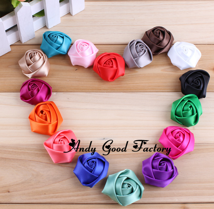Aliexpress Com 4cm Hand Made Fabric Flower Artificial Satin Ribbon Roses Diy Craft Bridal Bouquet Hair Clips Accessories Decoration Silk From