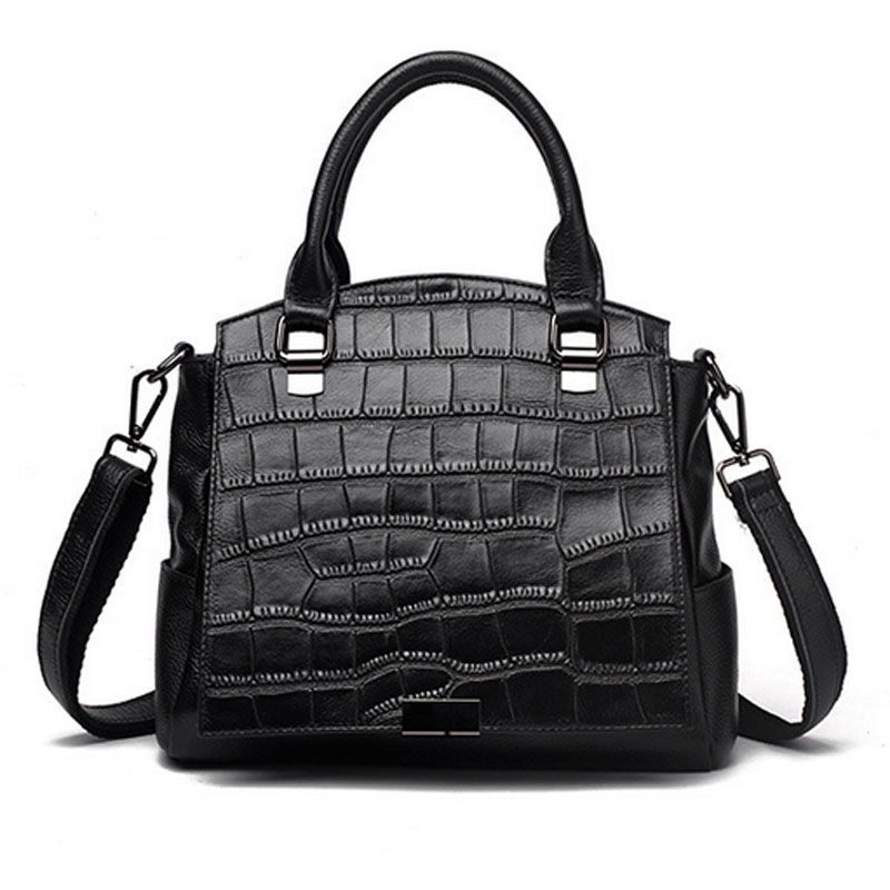 Genuine Leather Women Top Handle Cross Body Bag original Classic Crocodile Pattern Handbag Female Messenger Shoulder Bags 2016 fashion spring and summer crocodile pattern japanned leather patent leather handbag one shoulder cross body bag for women