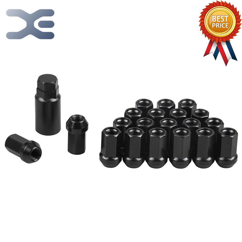 20pcs Car Accessory Wheel Nuts Black Wheel Lug Nuts Tire Fitting Aluminum Alloy Tire Fitting Bolt Nut Auto Replacement Parts