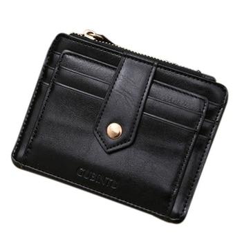 Ultra-Thin Card Holder PU Leather Men Women Mini Leather Zipper Credit Card ID Holders Money Cash Wallet Purse 2018 Hot Sale