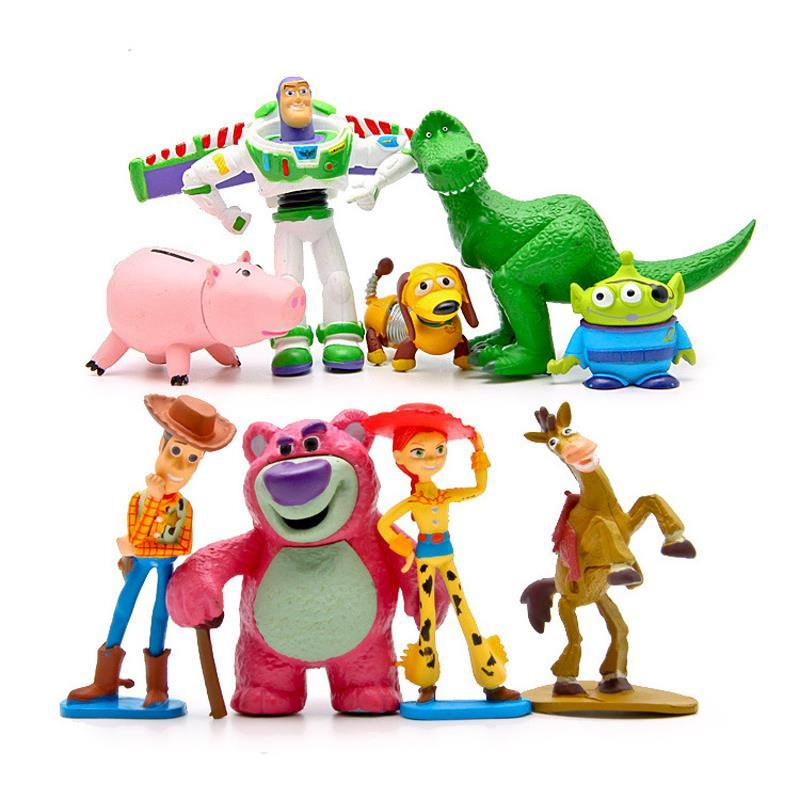 9pcs/set Toy Story Buzz Lightyear Woody Jessie Green Men Action Figures Mini PVC Toys Doll Collection Model Toy Christmas Gift