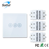 Saful Wireless Touch Switch 3 Gang 3 Way Smart Home 220v Home Light Switch Long Remote