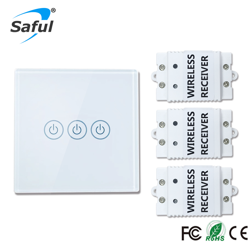 Saful Wireless touch switch 3 Gang 3 Way Smart Home 220v Home Light Switch long remote control Wall Switch saful 12v remote wireless touch switch 1 gang 1 way crystal glass switch touch screen wall switch for smart home light