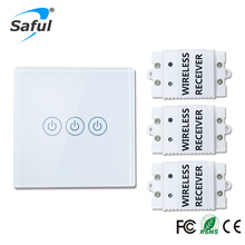 Saful Wireless touch switch 3 Gang 3 Way Smart Home 220v Home Light Switch long remote control Wall Switch