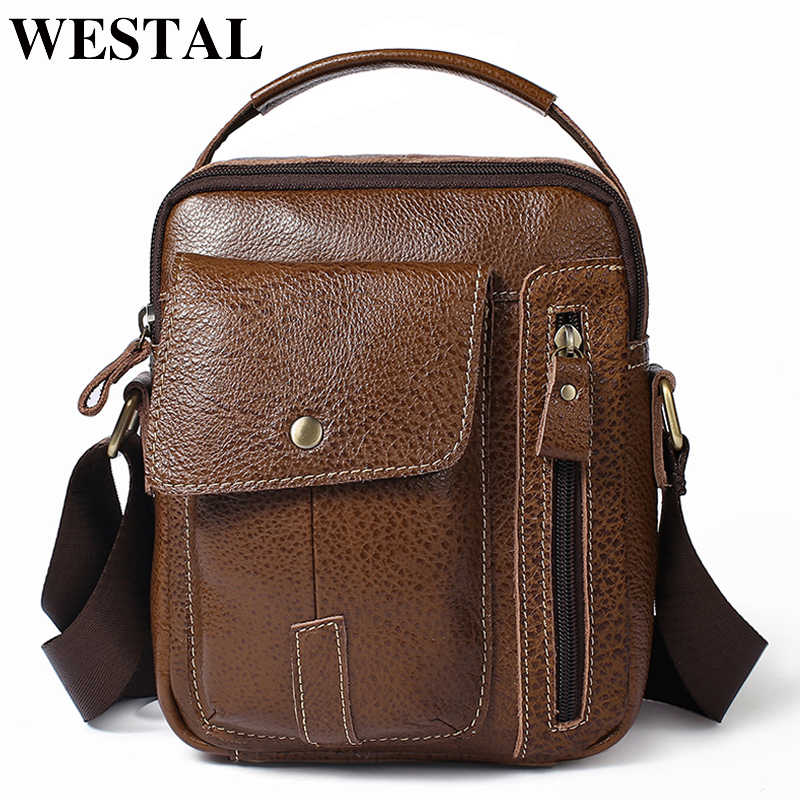 23bb39eef1 WESTAL Men s Bags Genuine Leather Messenger Bag Men Vintage Crossbody Bags  for Men ipad Flap Leather