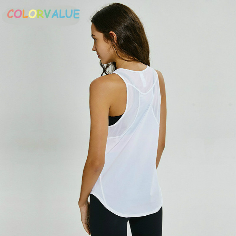 Expressief Colorvalue Loose Fit Fitness Vest Vrouwen Ademend Mesh Patchwork Sport Mouwloze Shirts Qick Droog Vlakte Athletic Yoga Tank Tops