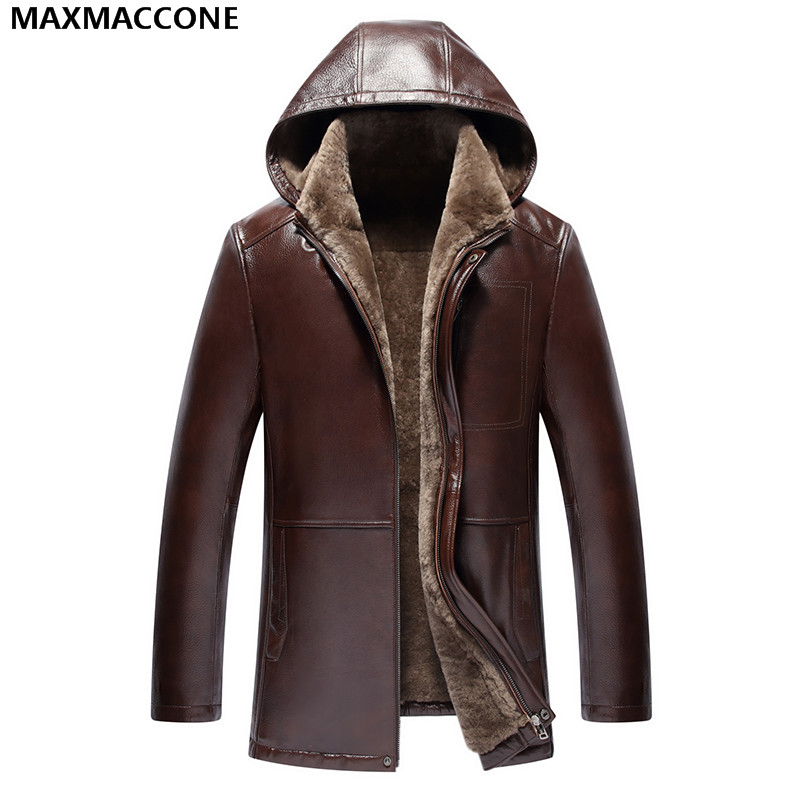 2018 Men Brown Hood Genuine Shearling Coat Plus Size XXXXL Men Winter Thick Real Cowhide Russian Casual Fur Coat FREE SHIPPING