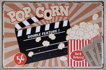 1 pc Pop Corn Cinema ticket sale Tin Plate Sign wall plaques Man cave vintage Dropshipping metal Poster