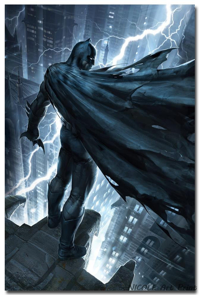 Batman Superheroes Comic Anime Art Silk Fabric Poster Print 12x18 24x36 inches Wall Picture for Home Kids Room Decoration 011