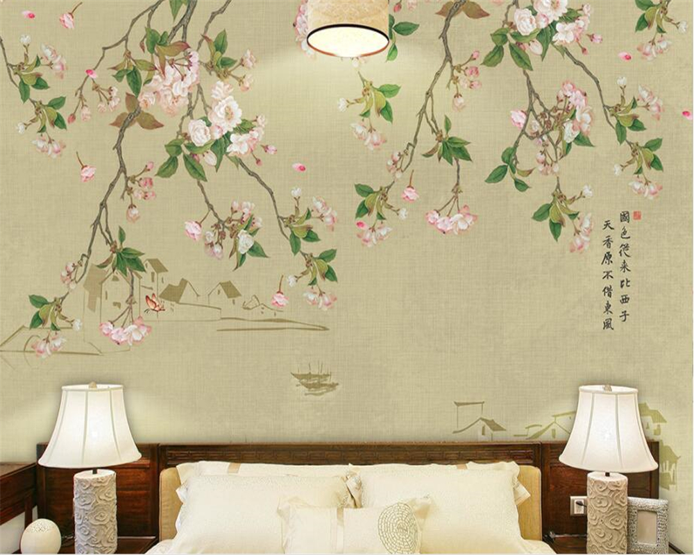 Customized Hand Painted flower Birds Photo Wallpaper Modern Home Living Room Room Backgr ...