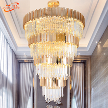 Modern Crystal Chandelier LED Lighting Large Stair Cristal Chandeliers Hanging Lamp Big Staircase Light