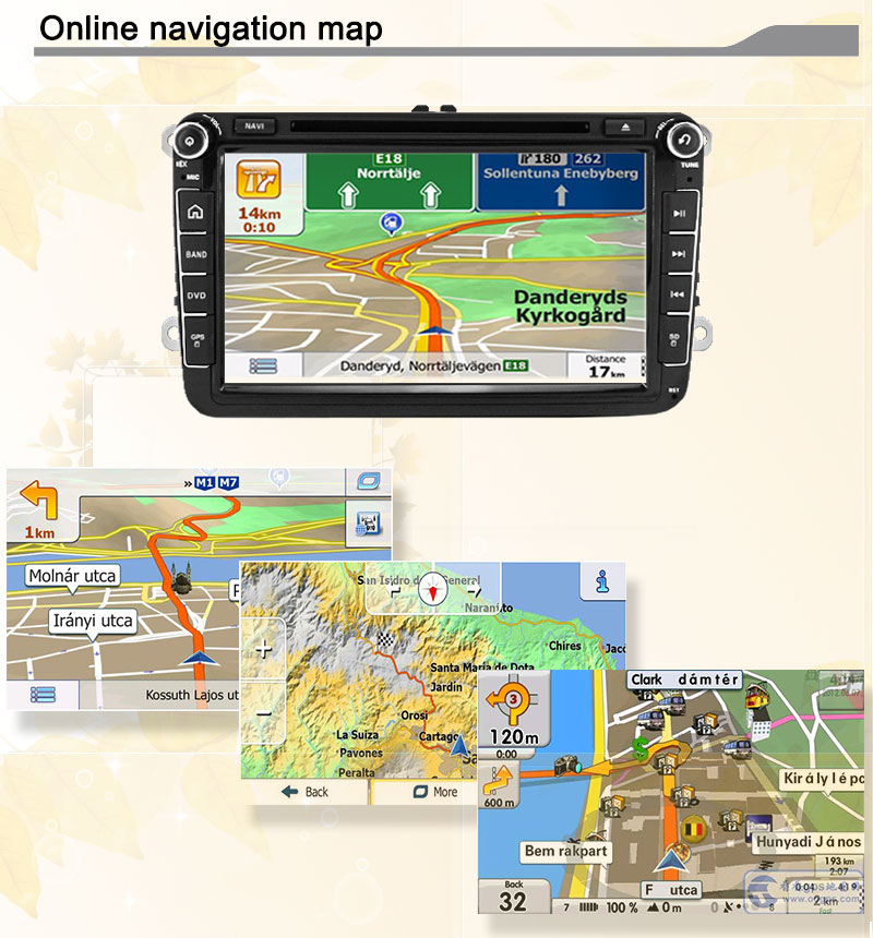 Android 5.1 Quad core RK3188 1024600 screen 2 DIN Car DVD GPS Radio stereo For VW Golf TiguanSkoda Fabia Rapid Seat Leon Altea europe map