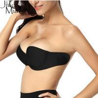 Jiao מיאו אישה סקסית סטרפלס Invisible חזיות דבק סטיק בג 'ל עבור נשים הלבשה תחתונה ללא משענת חלקה Bralette דביק