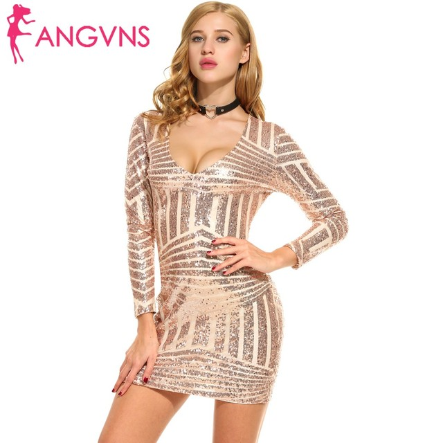 e462a0a1 ANGVNS Womens Dress V-Neck Long Sleeve Sequined Cocktail Bodycon Mini Dress  summer spring 2018Femme