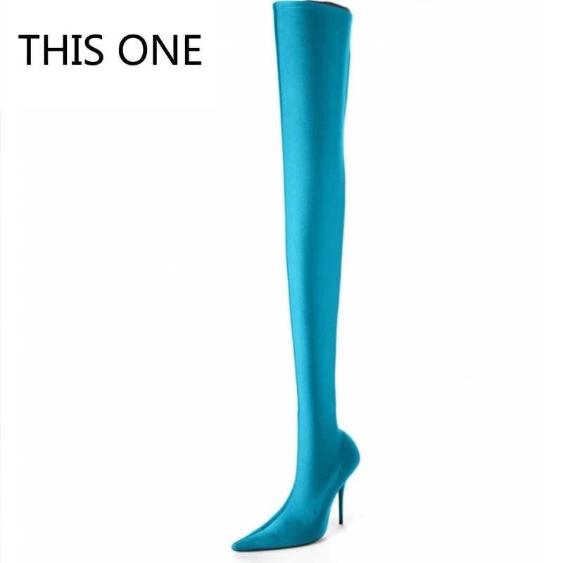 BU ONE2018 Yaz Seksi Uyluk Yüksek Çizmeler Saten Streç Elastik Diz Gök Mavisi Ince Yüksek Topuklu Uzun çizmeler kadın ayakkabıları