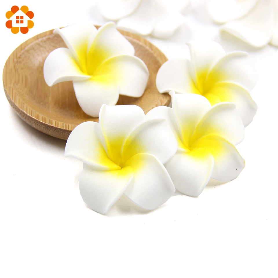100PCS Plumeria Hawaiian Artificial Flowers PE Foam Flowers Frangipani Egg Flowers DIY Wedding Decoration Party Supplies Wreath
