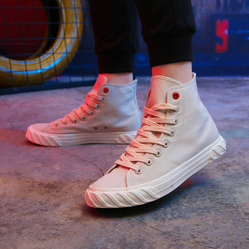New Canvas Footwear For Men Yellow Beige Casual Footwear Youth High Top Casual Brand Men Shoes New Arrival Walking Shoes Canvas 5