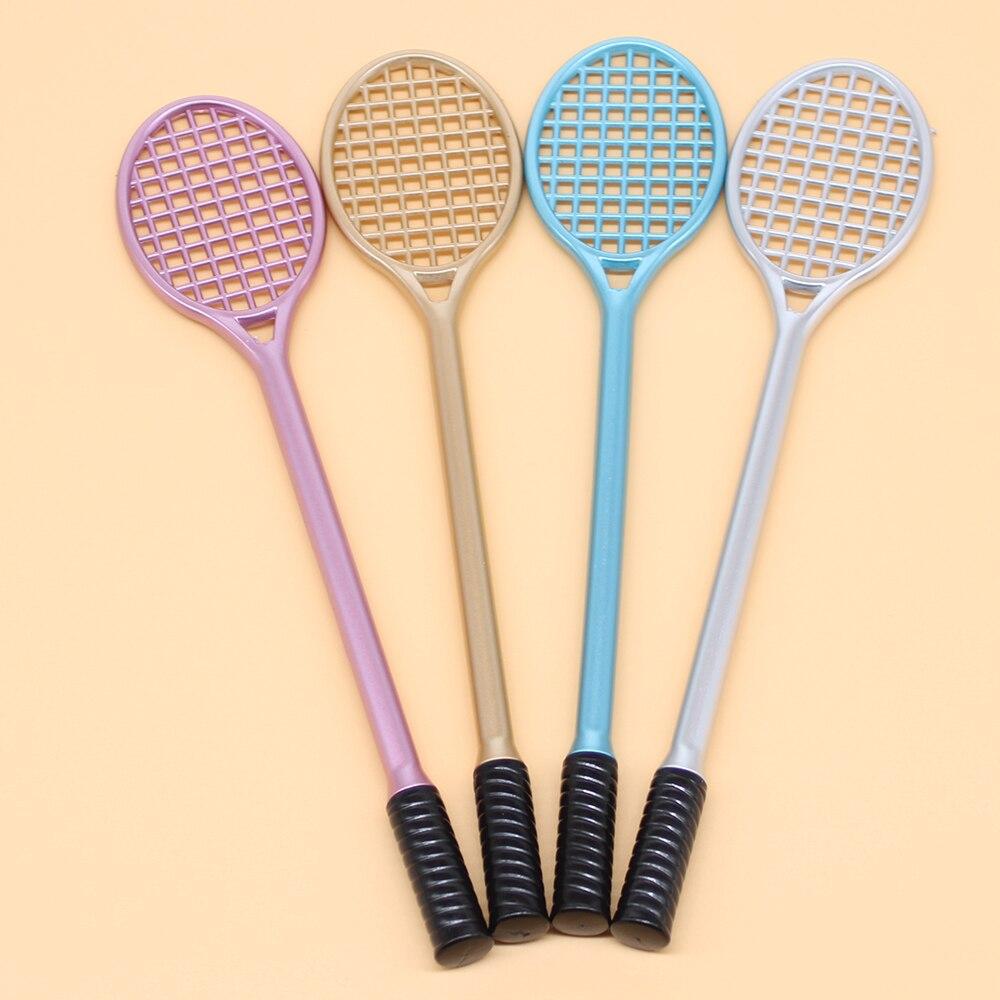 4PCS/Set Cute Tennis Racket Styling Pen 0.5mm Creative Badminton Racket Gel Pen Stationery Office Gift Pen School Supplies
